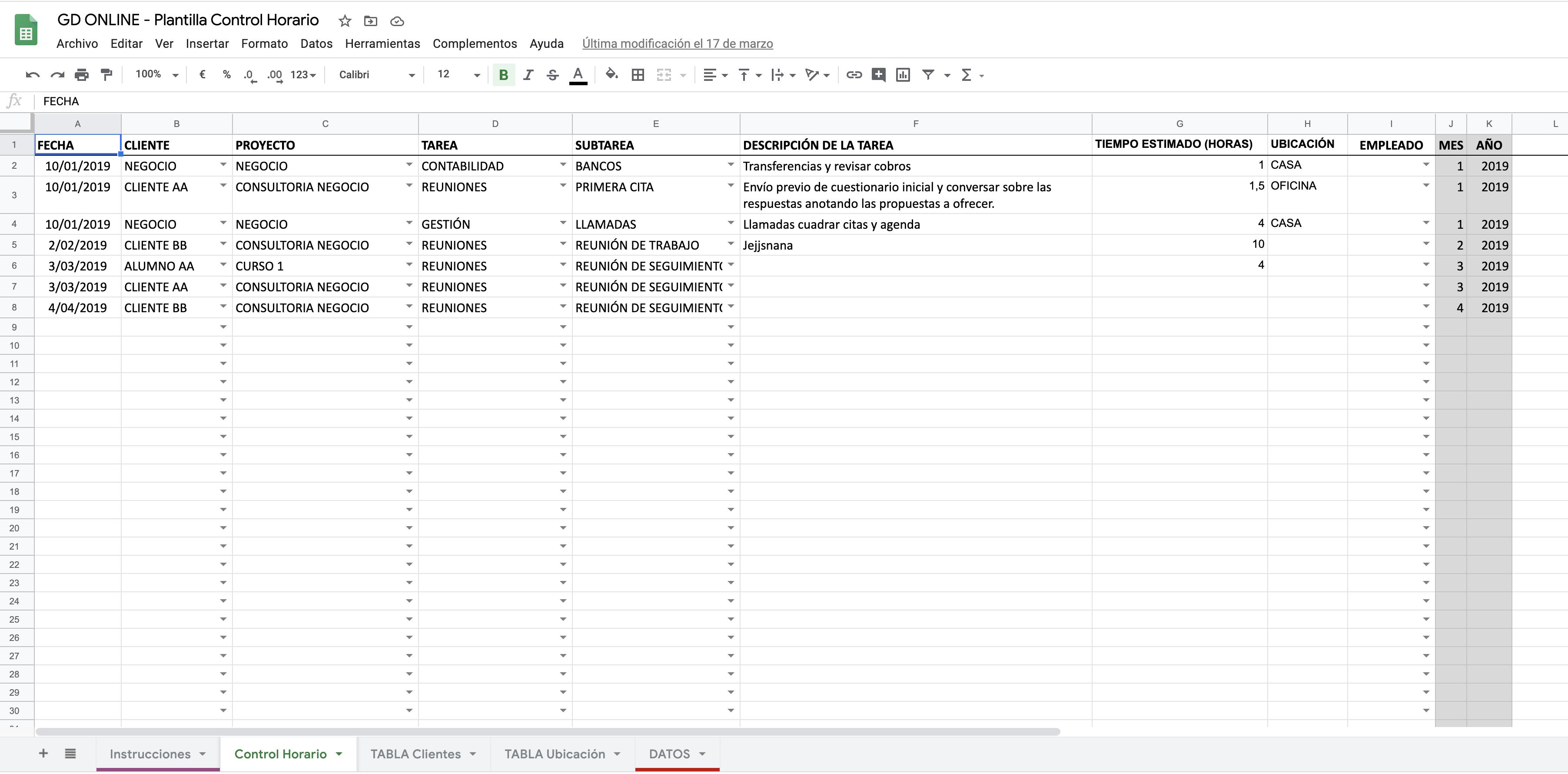plantilla excel hoja de calculo control horario productividad