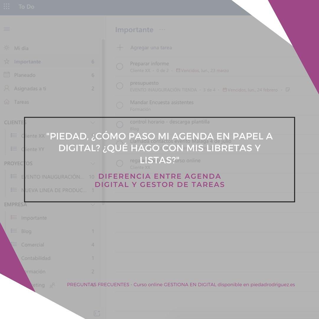 diferencia entre agenda digital y gestor de tareas productividad herramientas apps gratis google